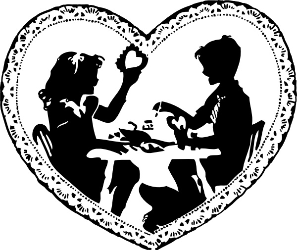 Two Children Making Valentines clip art Free vector in Open.