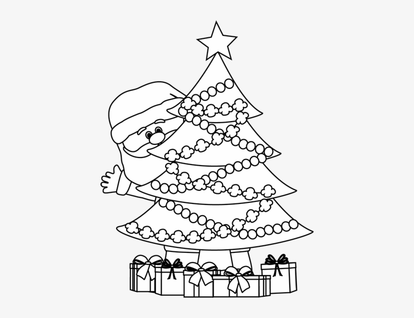 Black And White Santa Behind Christmas Tree.