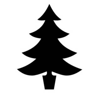 Free Clipart Picture of a Silhouette of a Christmas Tree.