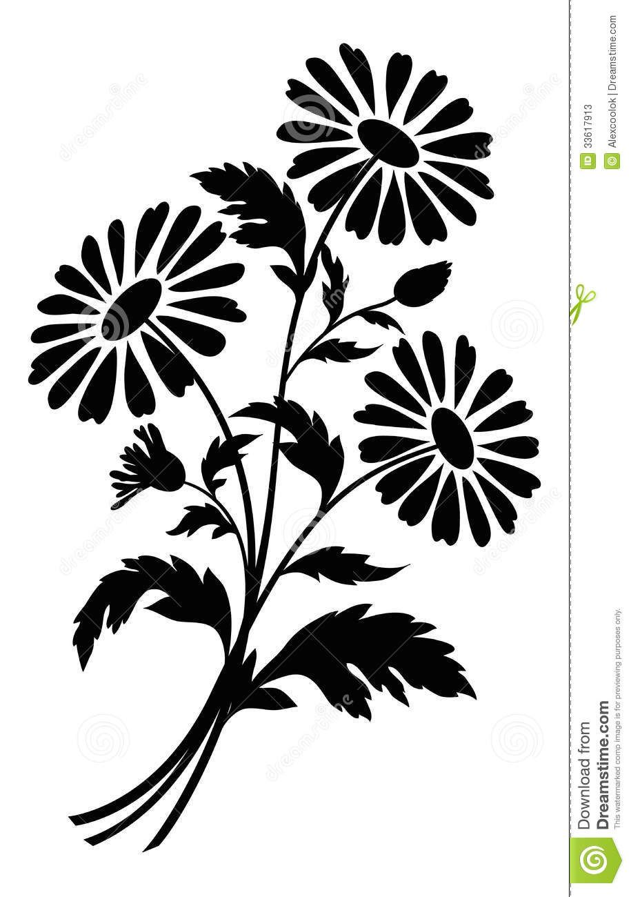 Flowers For > Black And White Flower Bouquet Clipart.