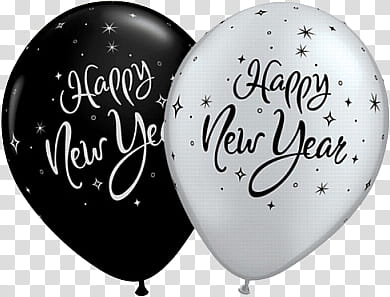 Happy New Year , two black and white happy new year balloons.