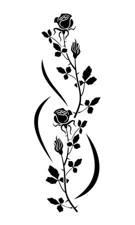 clipart of black and white rose.