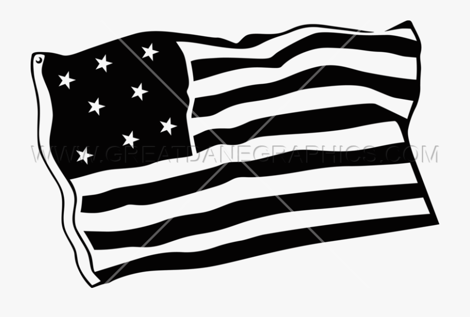 Black And White American Flag Clipart.