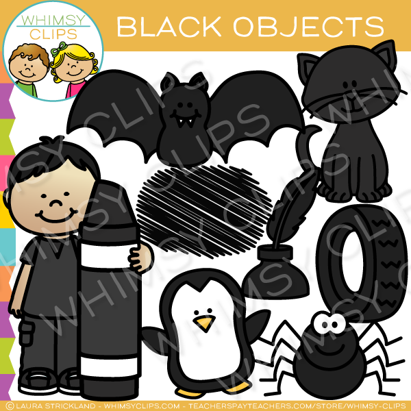 Black Color Objects Clip Art.