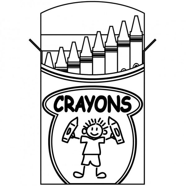 Box Of Crayons Clipart Black And White Regarding Blue Crayon Good.