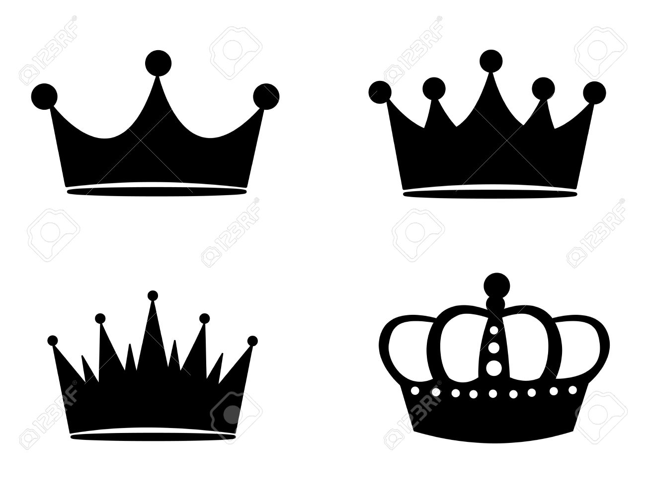 Illustration Of Black Crown Silhouettes Isolated On White.