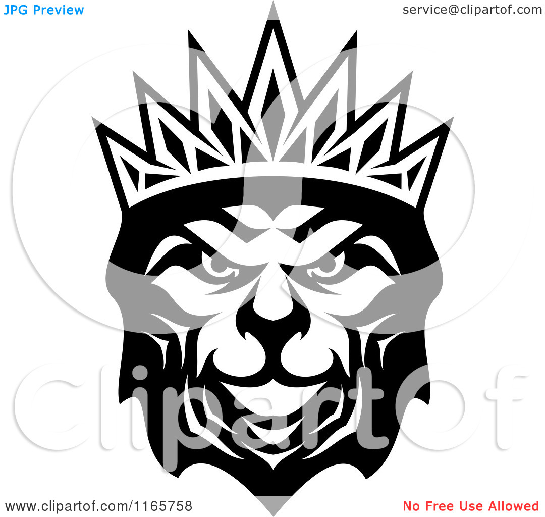 Clipart of a Black and White Heraldic Lion with a Crown 3.