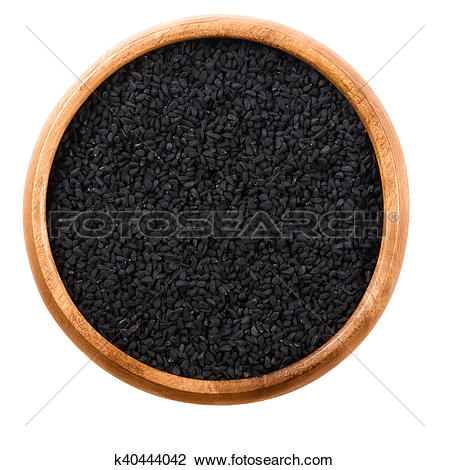 Stock Photo of Black cumin seeds in a bowl k40444042.
