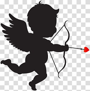 Black Cupid Cliparts transparent background PNG cliparts.