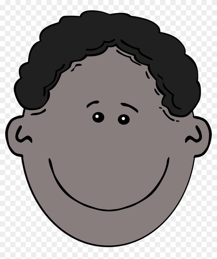 Black Boy Face Curly Hair Png Image.