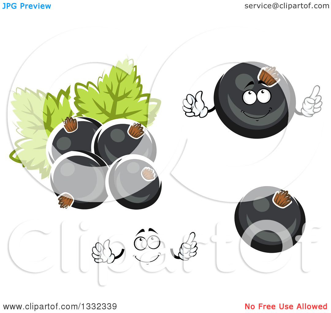 Clipart of a Cartoon Happy Face, Hands and Black Currant Berries.
