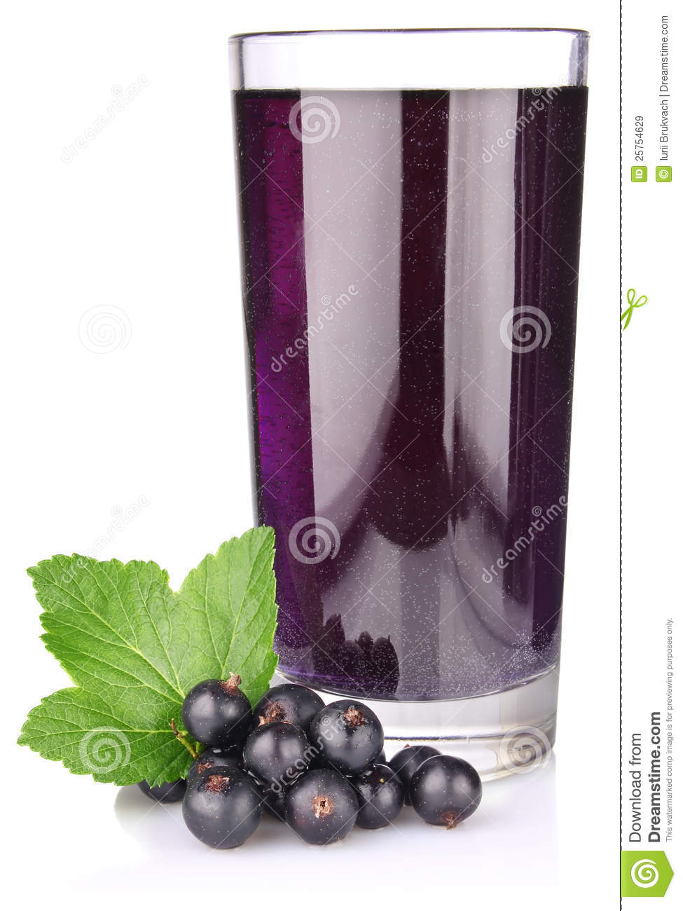 Black Currant With Juice And Green Leaf Royalty Free Stock Images.