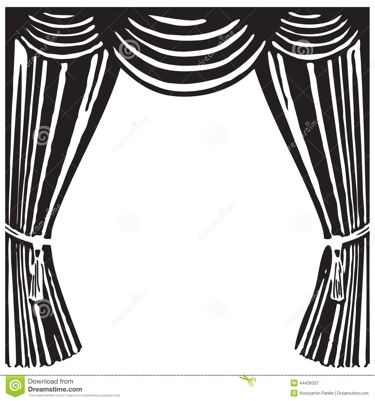 Theater Curtains Clipart Black And White.