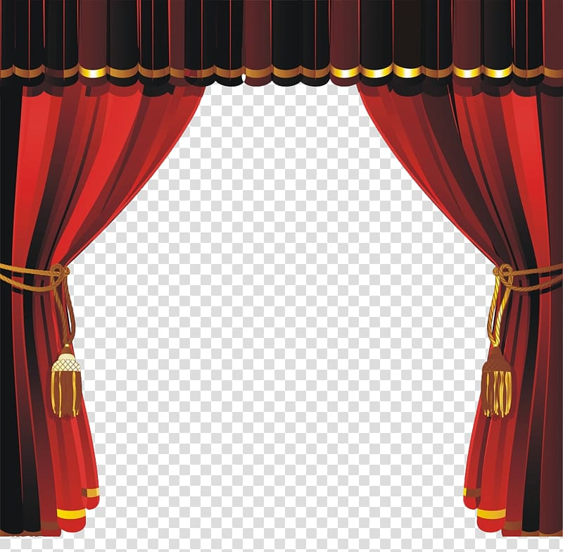 Red and black curtain illustration, Theater drapes and stage.