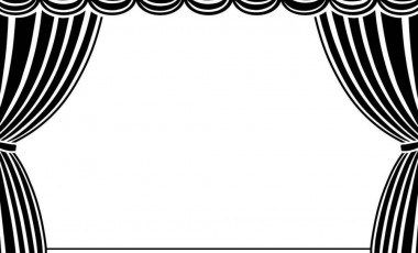 Curtains Clipart Black And White.