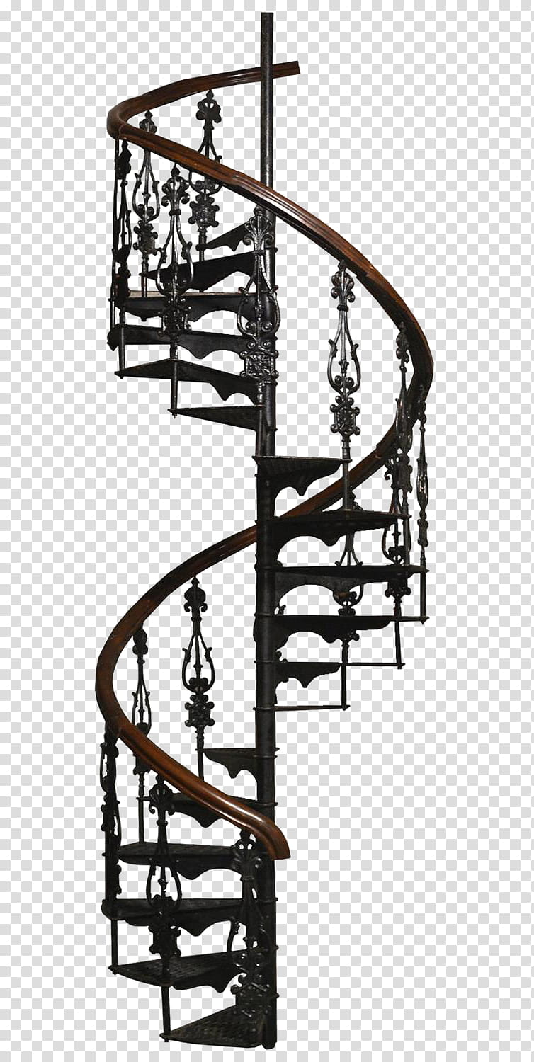 One Step Away, black and brown metal spiral stairway.
