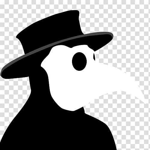 Person wearing doctor plague mask , Black Death Plague.