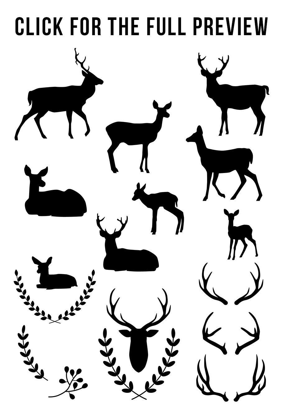 Deer Silhouette Clipart, White Deer Clipart, Black Deer Graphics By.