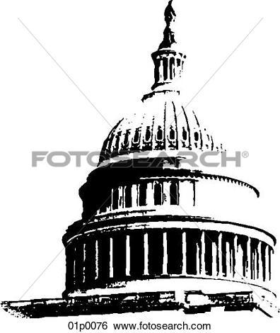 Clip Art of capitol dome 01p0076.