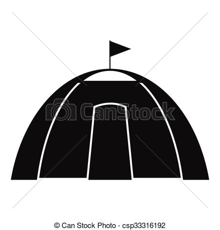 EPS Vectors of Dome tent black simple icon isolated on white.