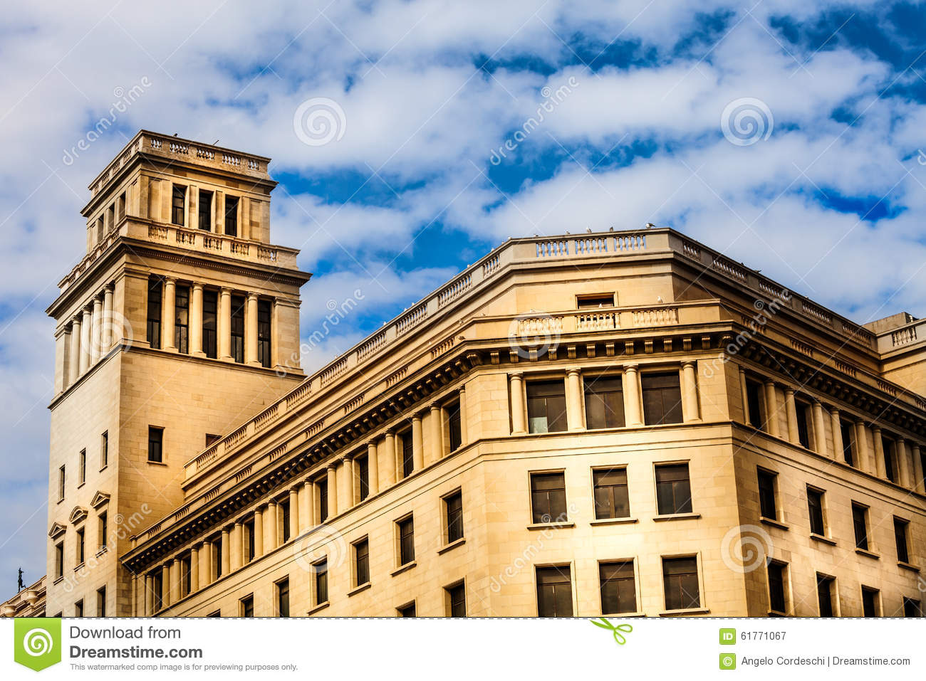 Building With A Tower And Domed Roof. Spanish Architecture. Stock.