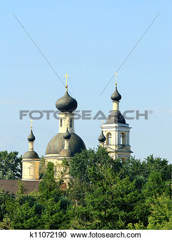 Stock Photography of Church with black domes k11072190.
