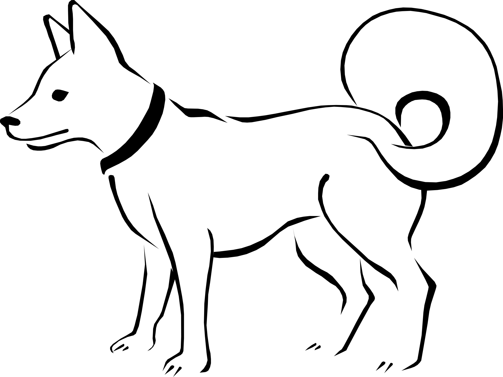 Black and white dog drawing.