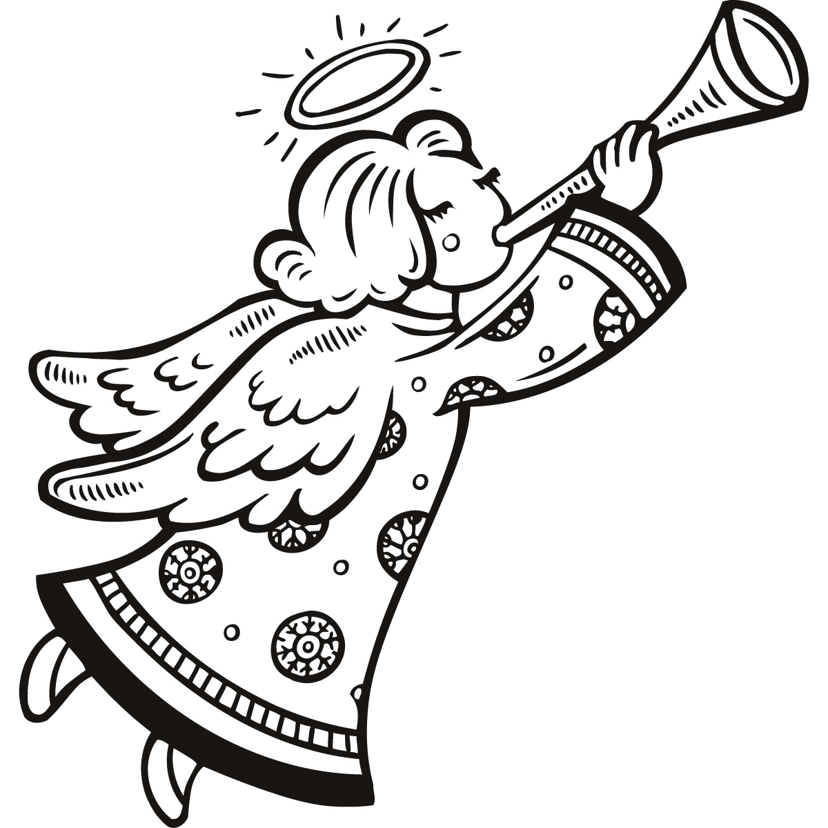 Angel line drawing clip art.
