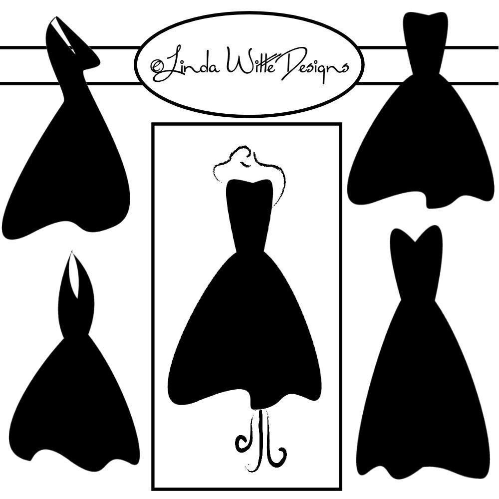 Little black dress with pearls clipart.