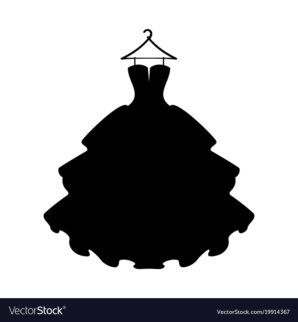 Dresses black dress silhouette of dress on white.