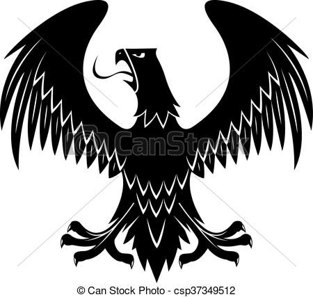 Black eagle with extended wings heraldic icon.