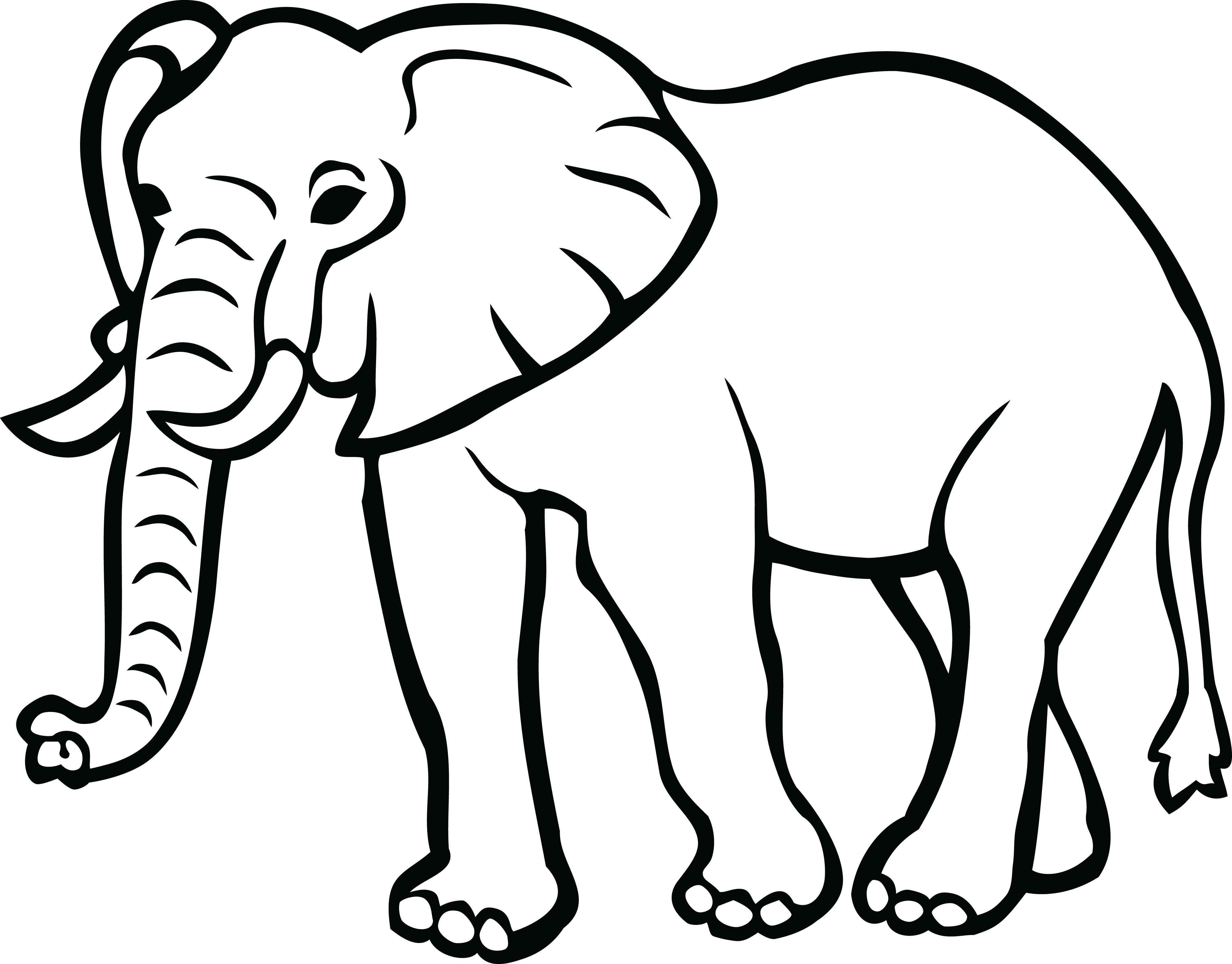 Picture Of Elephant Clipart Black And White.