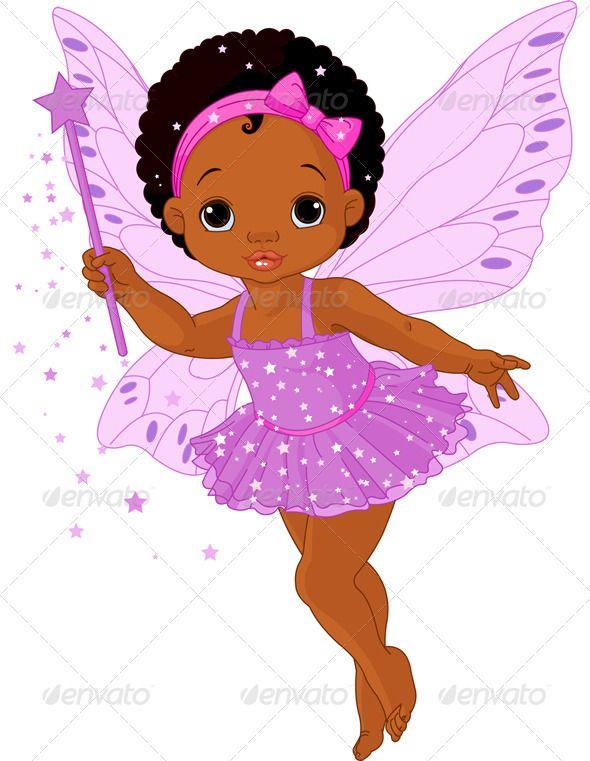 Black baby angel clip art.