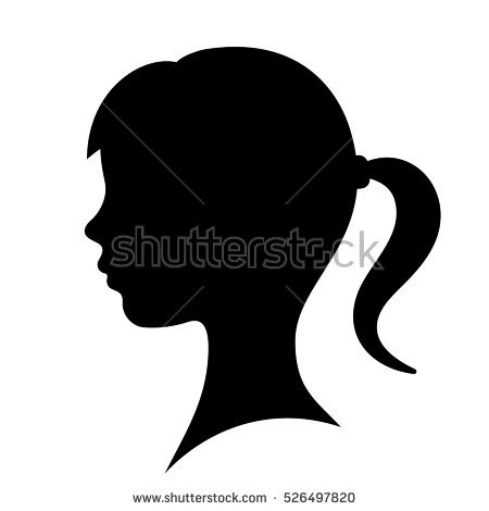 Girl Face Clipart Black And White.