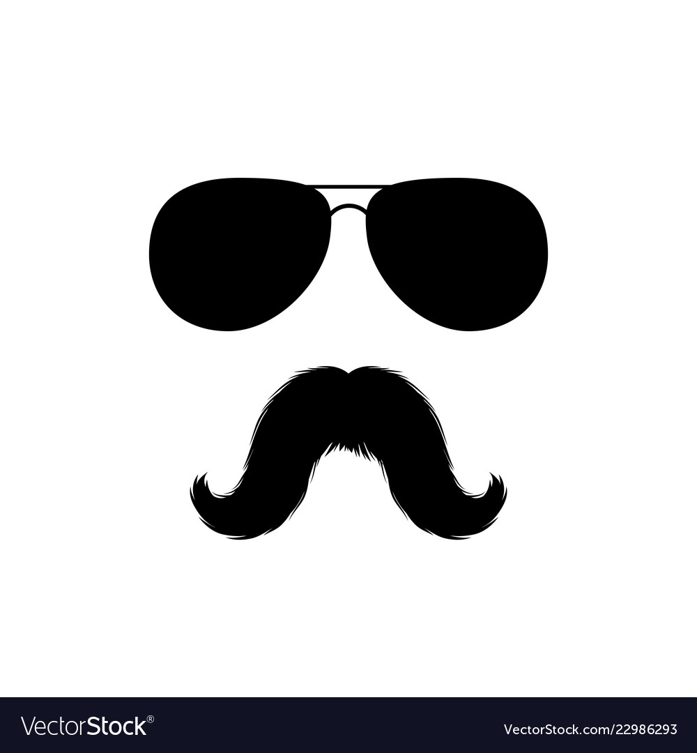Moustaches and sunglasses face clipart black.