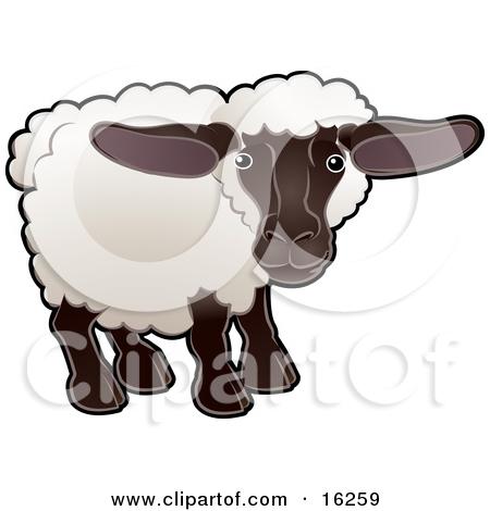 Free Cartoon Sheep Clipart Illustration.