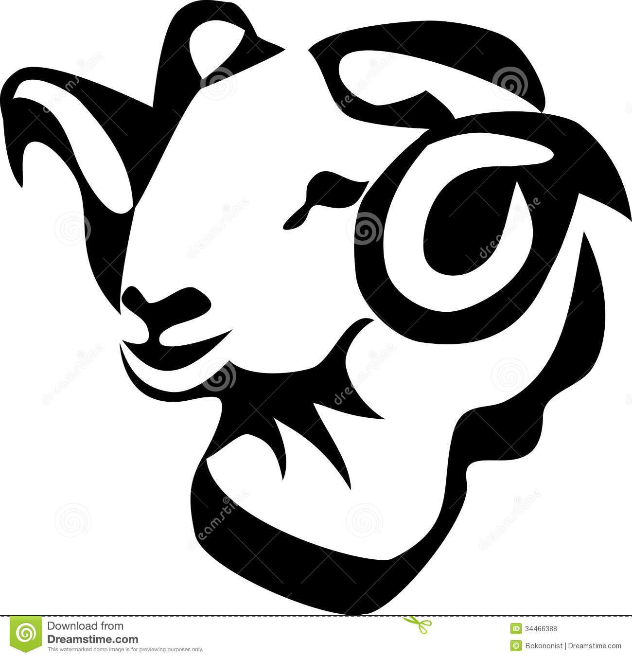 Black face sheep head clipart.