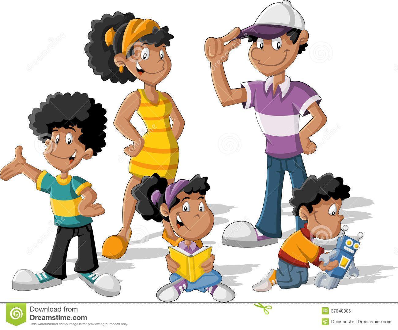 Happy black Family Cartoon.