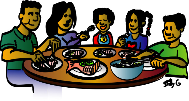 Black Family Dinner Clipart.