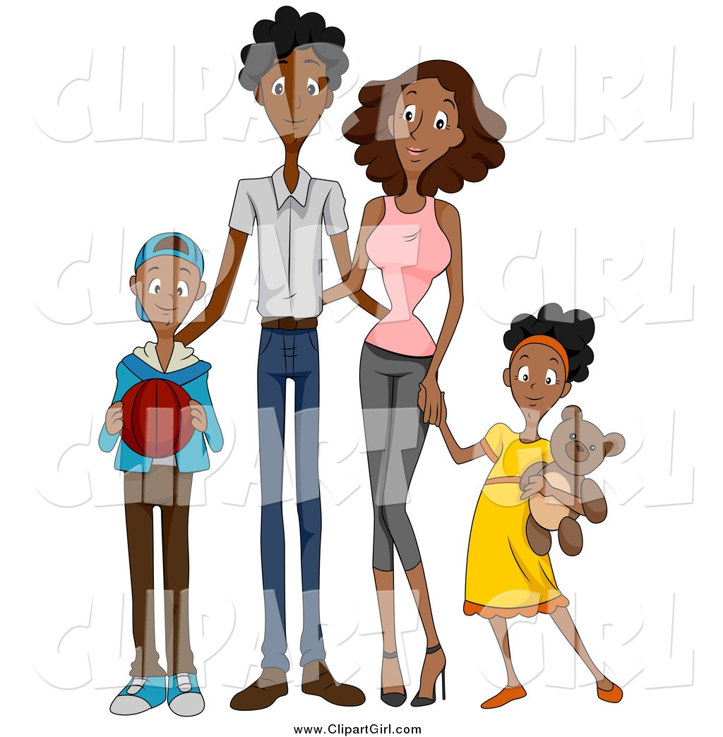 Black family of four clipart.