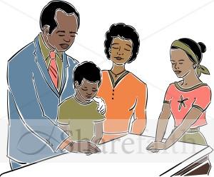 Black Family Praying Clipart.