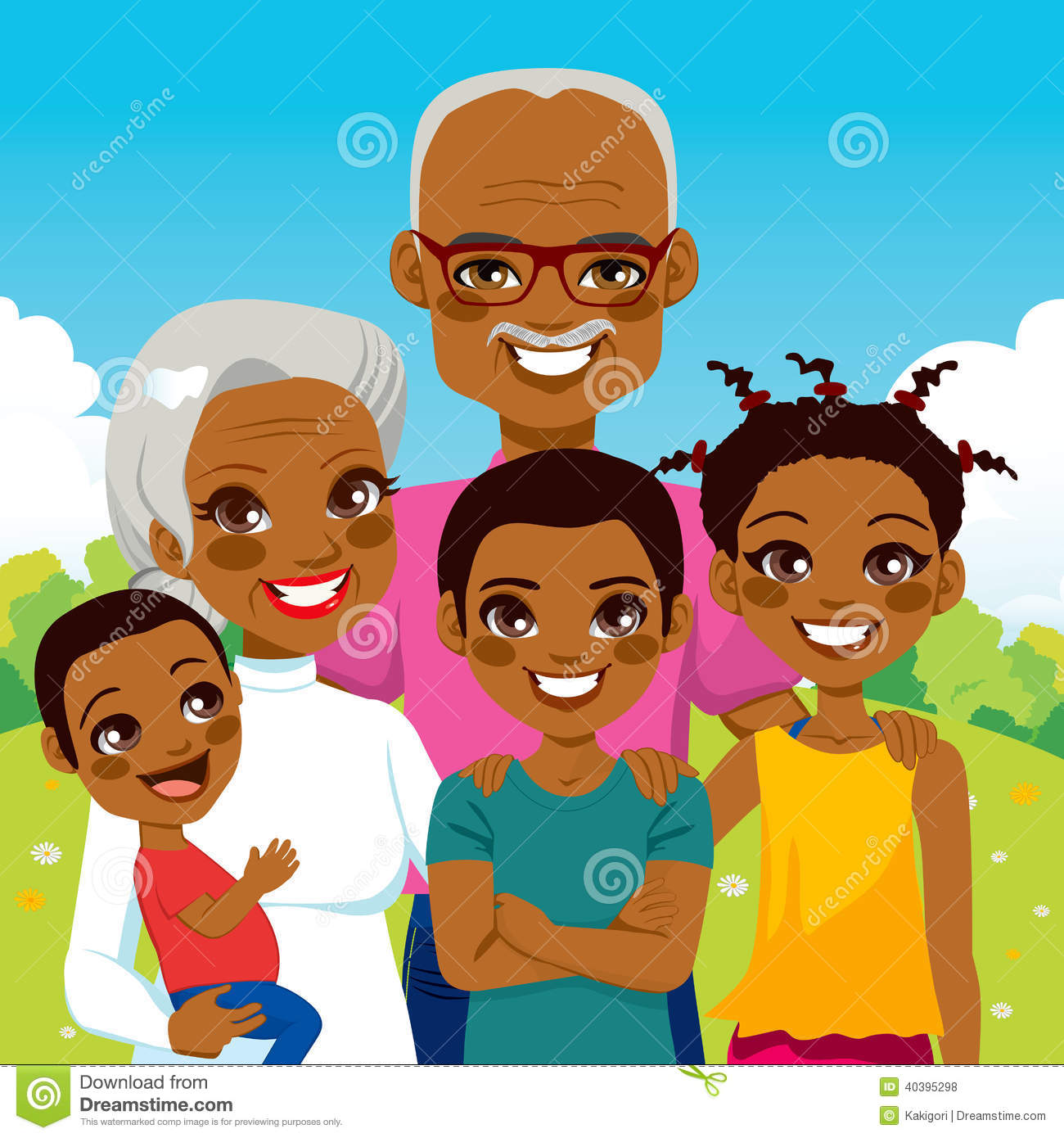 Clipart of black family.