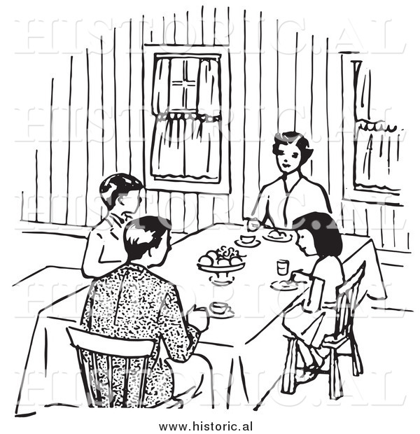 Clipart of a Family Eating at Dinner Table.