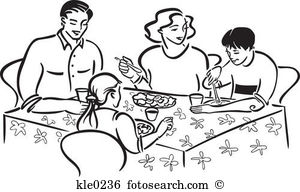 Family Eating Clipart Black And White.