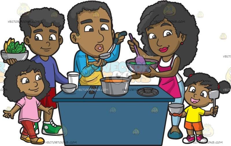 A Black Family Cooking A Meal Together: A black man with his.