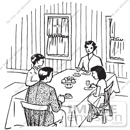Family eating together clipart black and white 3 » Clipart.