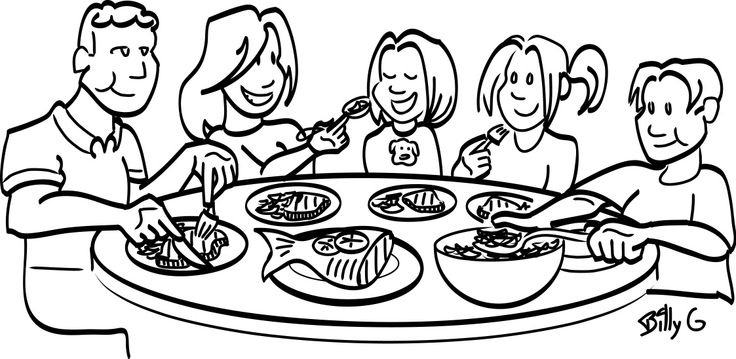 Library of black family eating together clip black and white.