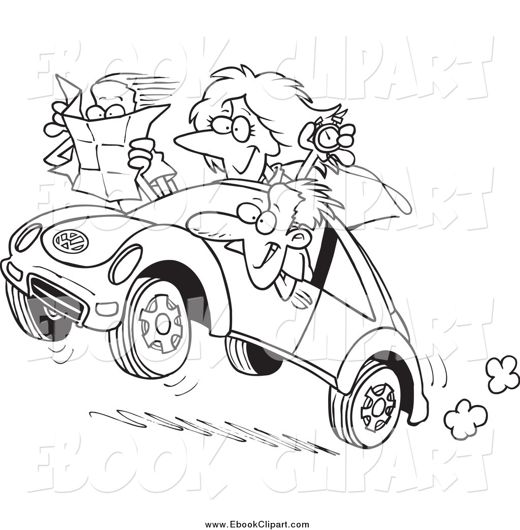 Family In A Car Clipart Black And White.