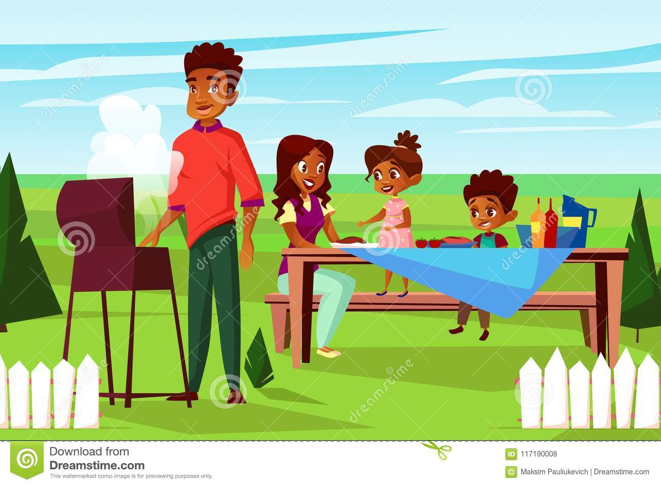 Vector Cartoon African Family At Picnic Bbq Party Stock Vector.