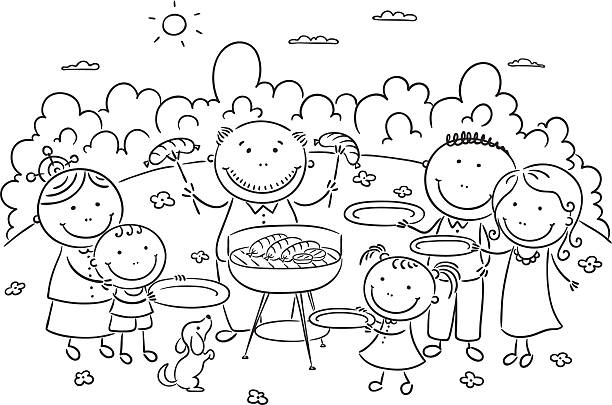 Best Black And White Picnic Illustrations, Royalty.